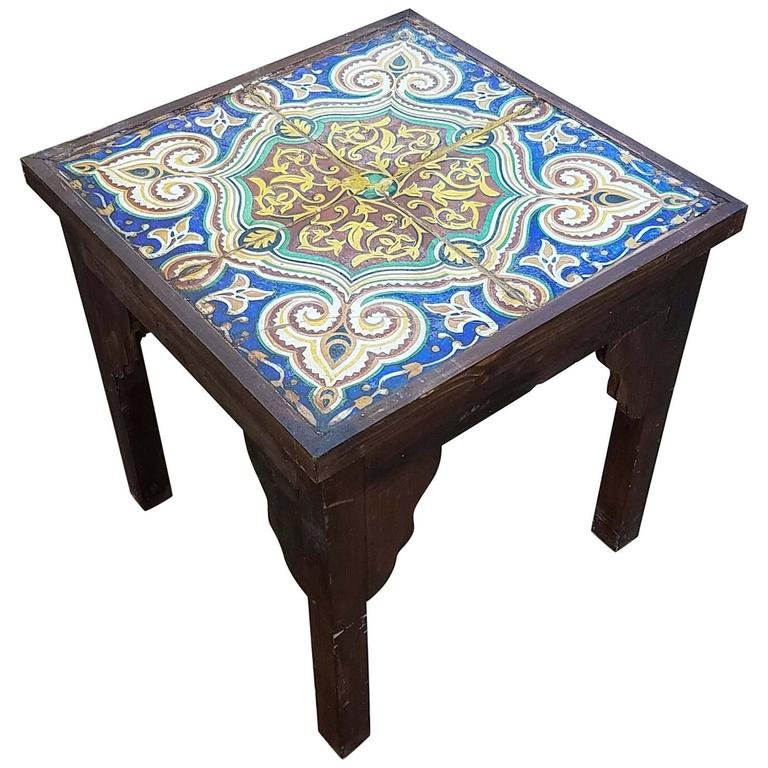 19th Century Mosaic Tiles-Side Table