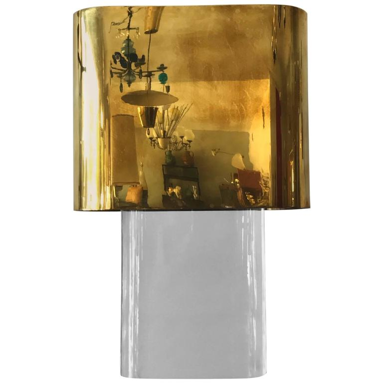 Karl Springer Lucite Table Lamp with Brass Shade 1