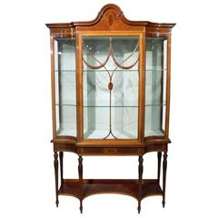 Fine Quality Mahogany Inlaid Edwardian Period Antique China Cabinet