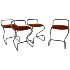 Mid-Century Modern Daystrom Furniture Co. Chromium and Fabric Stools