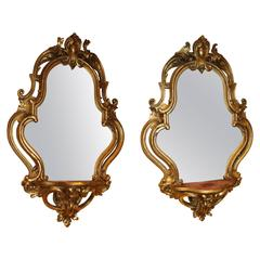 Pair of 19th Century Continental Rococo Gilt Wall Mirror Sconces or Brackets