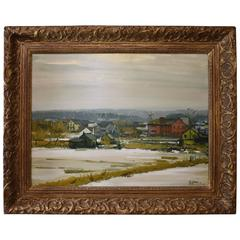 Gilbert Gaul Impressionistic Oil on Board, Winter in Hackensack New Jersey