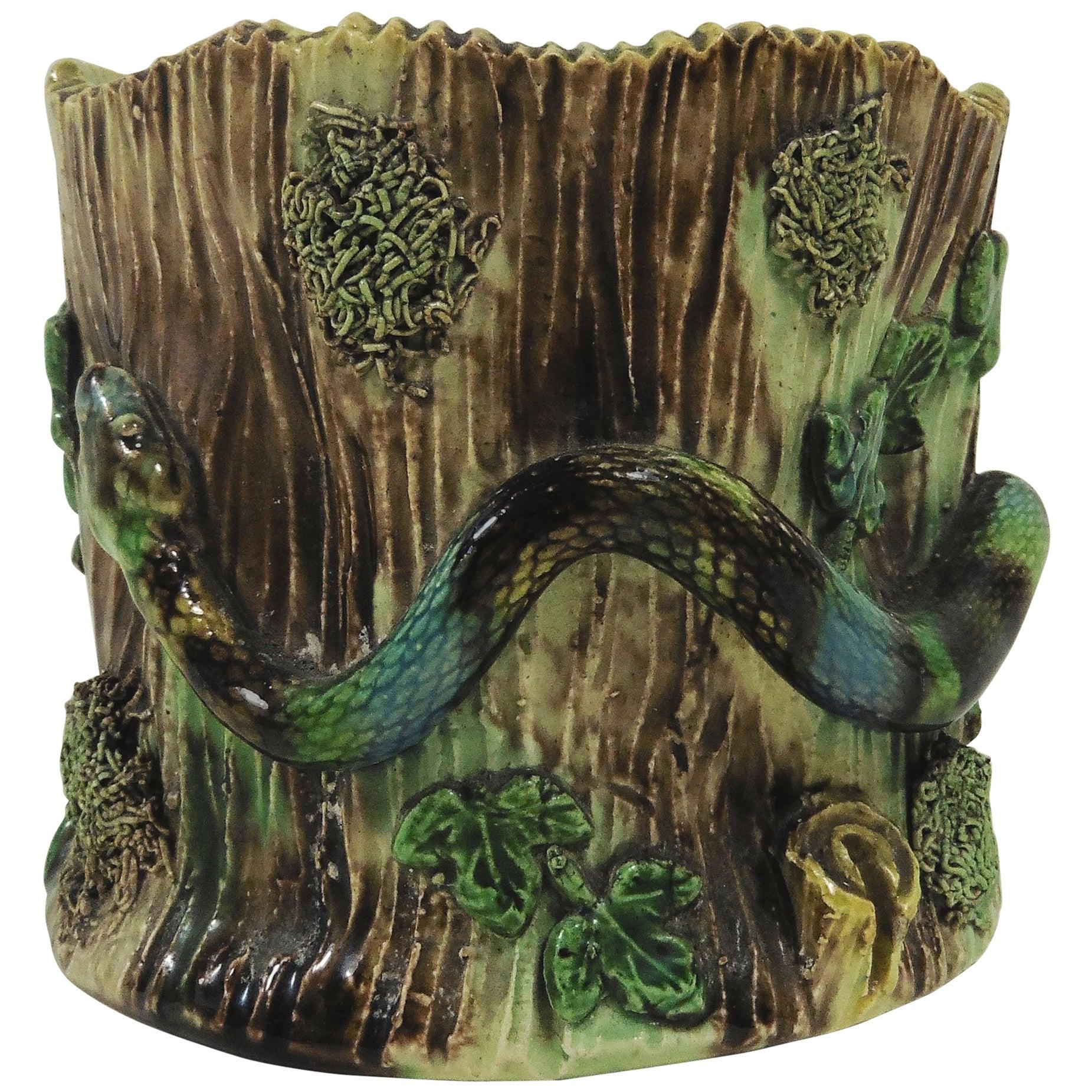 Majolica Palissy Snake Vase Thomas Sergent, circa 1880