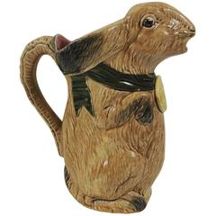 French Majolica Rabbit Pitcher, circa 1900