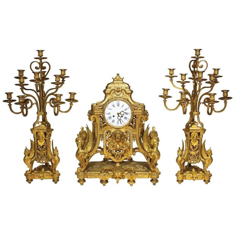 French 19th Century Louis XIV Style Figural Ormolu Clock Garniture, Raingo Frers For Sale
