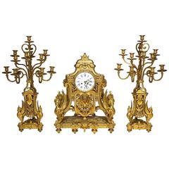 French 19th Century Louis XIV Style Figural Ormolu Clock Garniture, Raingo Frers
