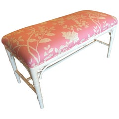 Pair Available Faux Bamboo Chinese Chippendale Bench, Chinoiserie Pink Lacquered