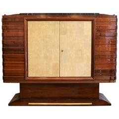 Mahogany Sideboard with Shagreen by Gaston Poisson, France, Art Deco, 1930s