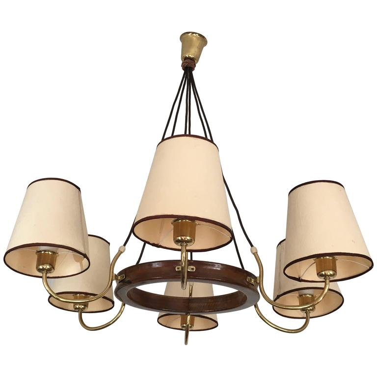 Beautiful Large Brass Chandelier Attributed to J.T. Kalmar For Sale