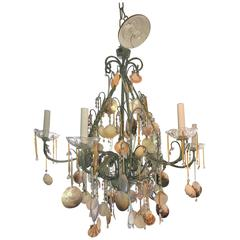 Mother of All Sea Shell Chandeliers, Violet Amber Crystals Adorn Beach Style