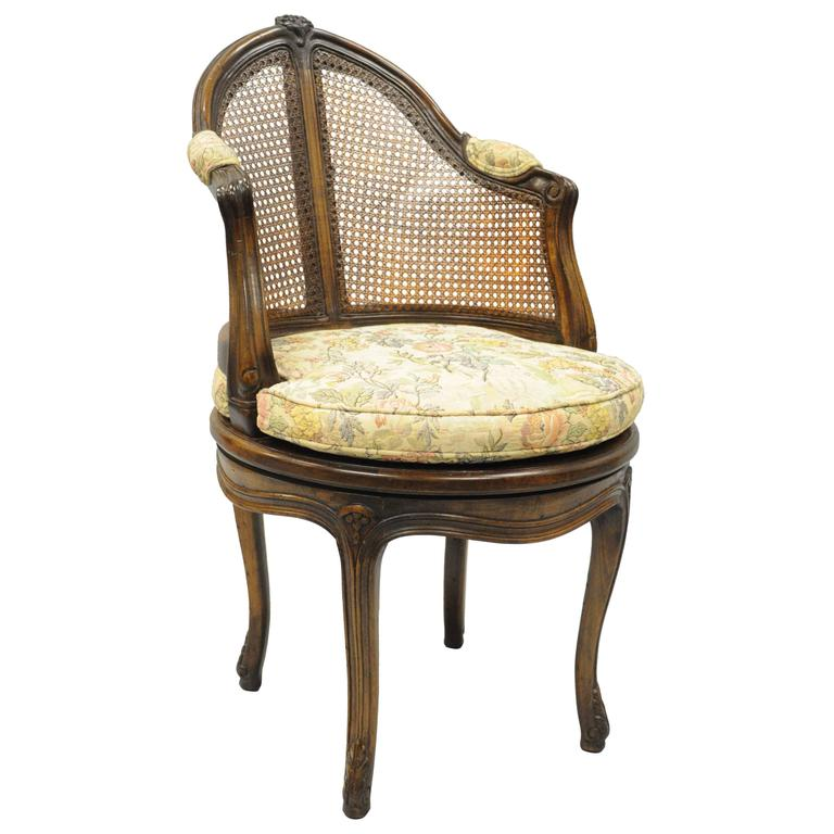 french country louis xv style swivel vanity chair cane back boudoir seat walnut 1