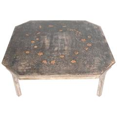 Elegant Silver Leaf Coffee Table with Hand-Carved Decoration by Max Kuehne