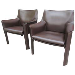Mario Bellini Cab Lounge Chairs for Cassina in Chocolate Leather
