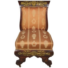 French Napoleon III Empire Mahogany and Ormolu-Mounted Low Chair, after Thomire