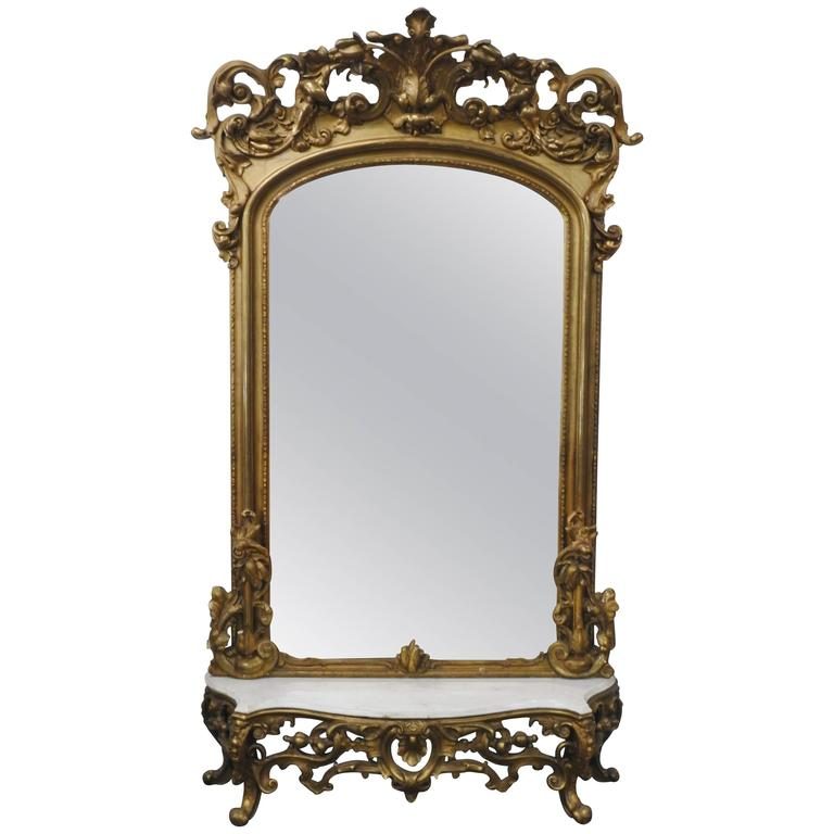 Victorian Gilded Mirror With Marble Top Stand For Sale At