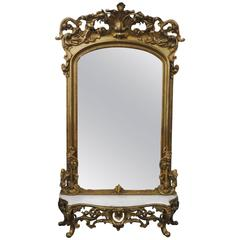Victorian Gilded Mirror with Marble Top Stand