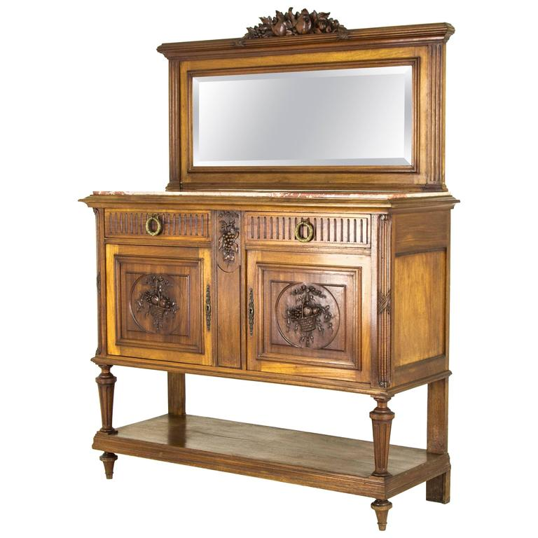 Antique Buffet Marble Top Sideboard Credenza With Beveled Mirror B566 For