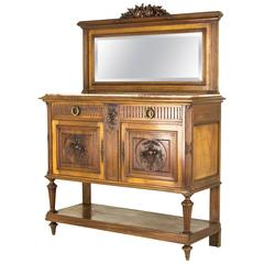 Antique French Walnut Marble Top Sideboard, Credenza, with Beveled Mirror B