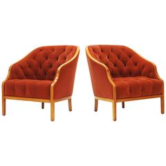 Pair of Ward Bennett Club Chairs for Brickel Associates