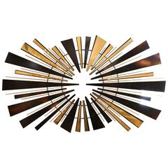 Curtis Jere Sunburst Wall Sculpture in Brass and Black, circa 1974