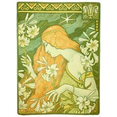 """Original Color Lithograph by Paul Berthon, Signed in Pencil, 1897, """"L'Ermitage"""""""