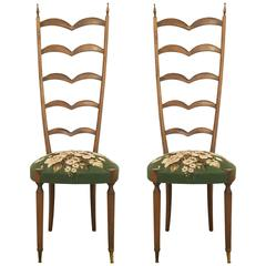 Pair of High-Backed Chairs Attributed to Oskar Strnad or Hugo Gorge