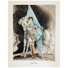 "Louis Icart Original Color Etching, 1929, ""Jeanne D'Arc"""