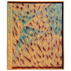 California Artist H. Wilson Smith Geometric Abstract Painting, circa 1940s-1950s