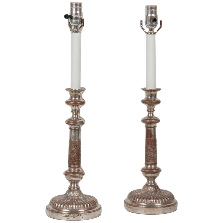 Pair of Silver on Copper Candlestick Lamps