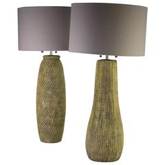 Mid-Century Modern Ceramic Pair of Lamps by Kelby