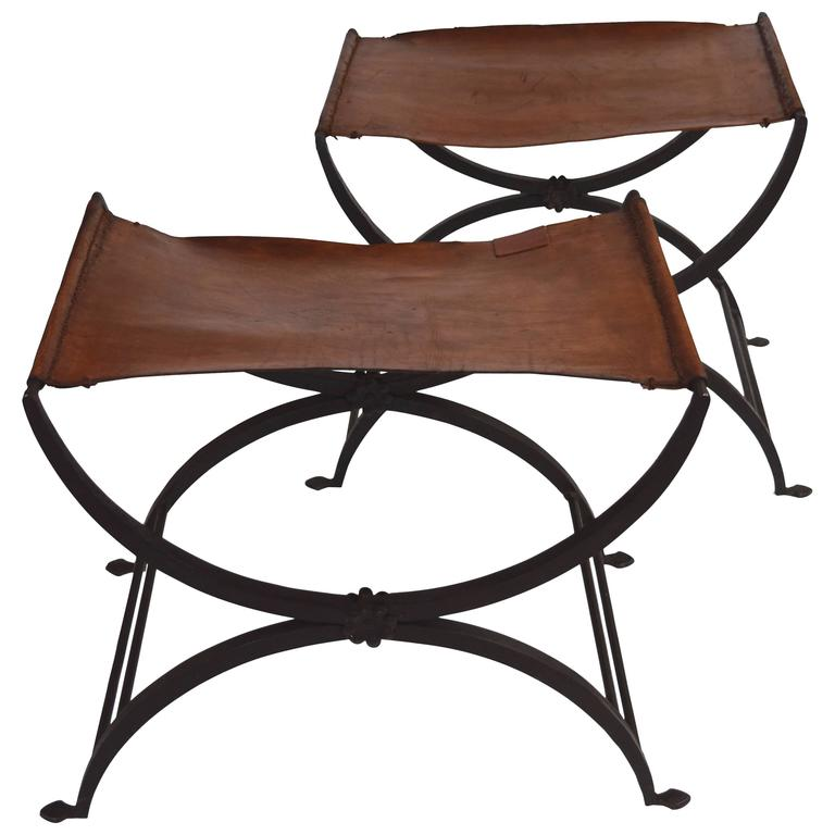American Pair Of Wrought Iron And Leather Stools At 1stdibs