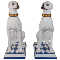 Italian Pair of Porcelain Dog Statues Made for Svenkst Tenn