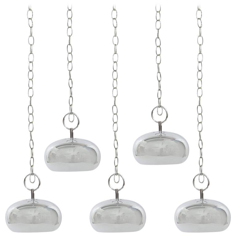Five Robert Sonneman Chrome Pendant Lights