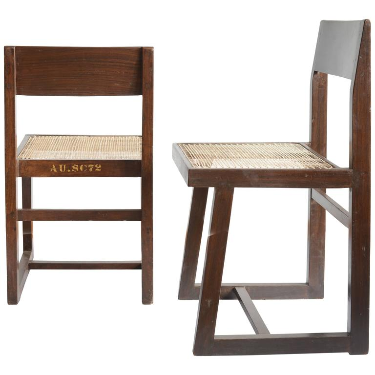 Pierre Jeanneret for Chandigarh , Box Chair with Cane and Teak