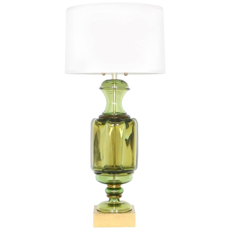 Marbro Green Murano Glass Urn Lamp by Seguso