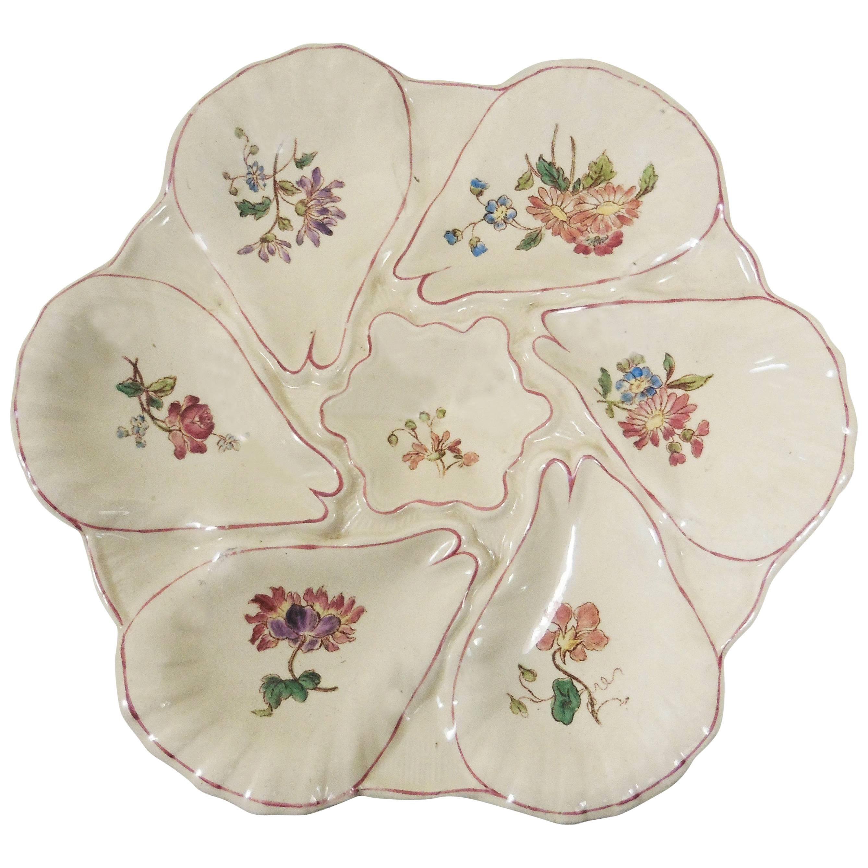 Majolica Flowers Oyster Plate Longchamp circa 1900