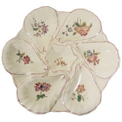 Majolica Flowers Oyster Plate Longchamp circa 1900