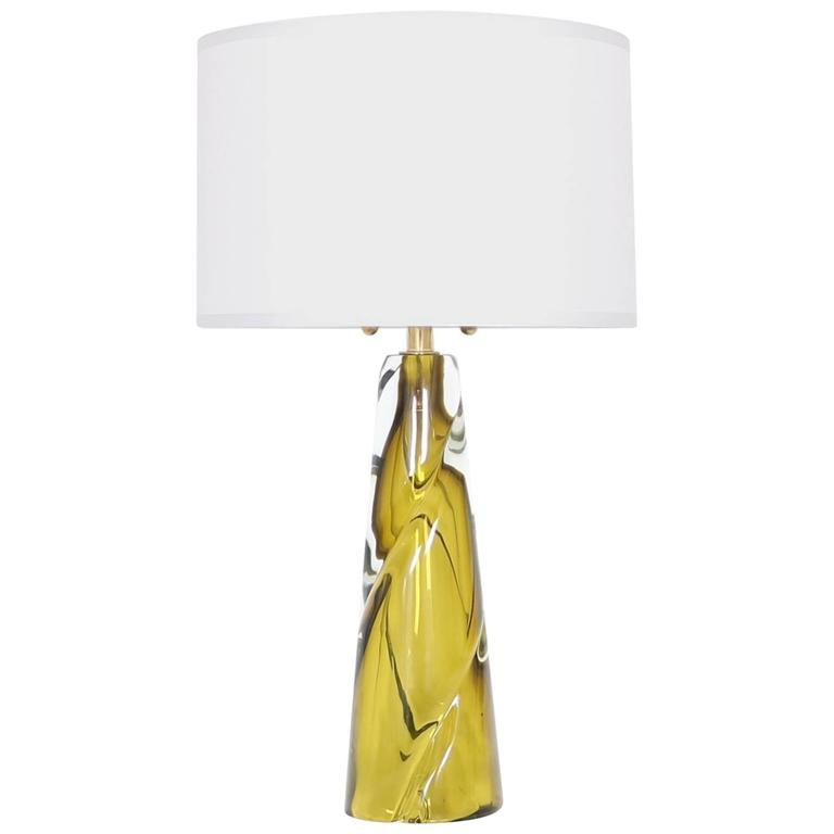 Mid-Century Modern Murano Glass Lamp by Seguso For Sale