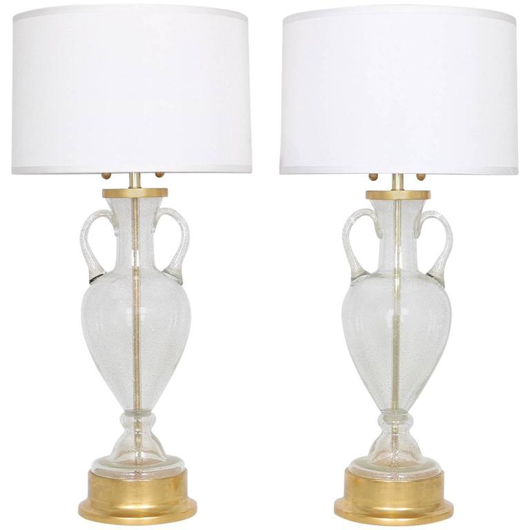 Murano Glass Urn Lamps by Seguso for Marbro, Pair For Sale