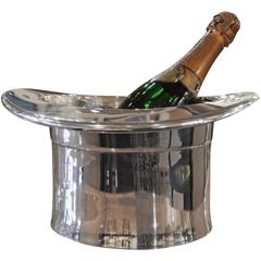 Silver Art Deco Top Hat Champagne Bucket
