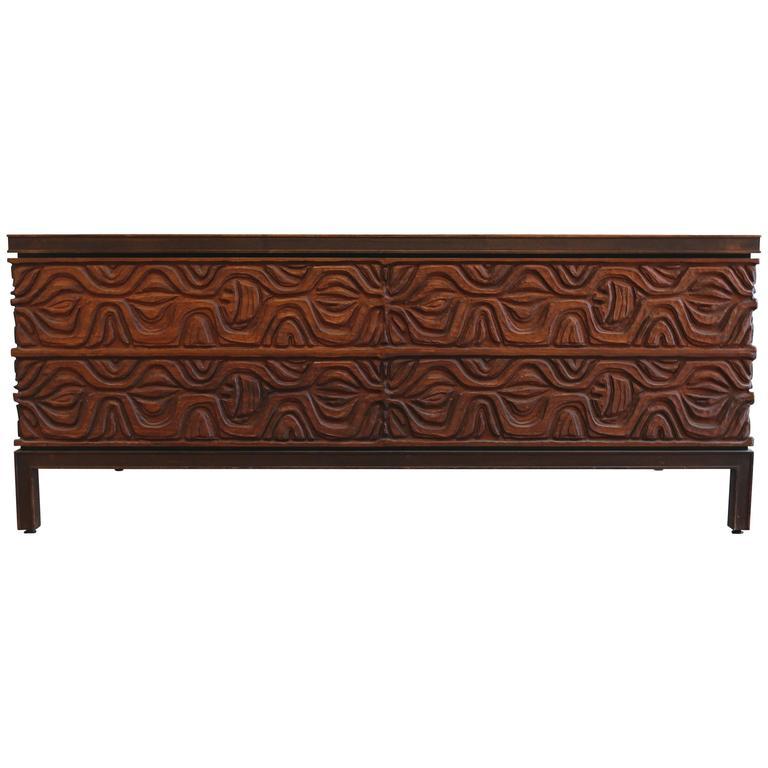 Walnut and Panelcarve Desk by Murray Feldman for A. E. Furniture