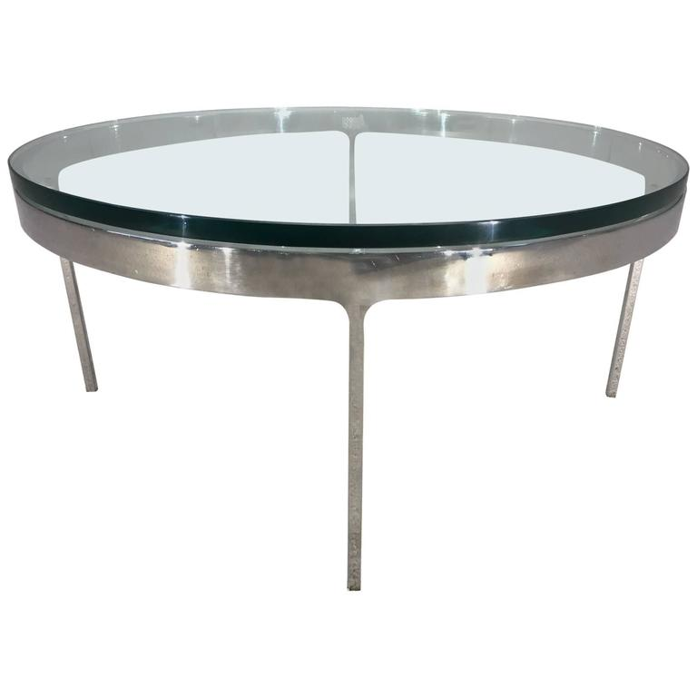 Nicos Zographos Solid Chrome Cocktail Table with Glass Top