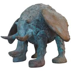 Brutalist Bronze Elephant Sculpture