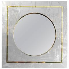 Mirror in Brass and Chrome Port Hole Frame by C. Jeré