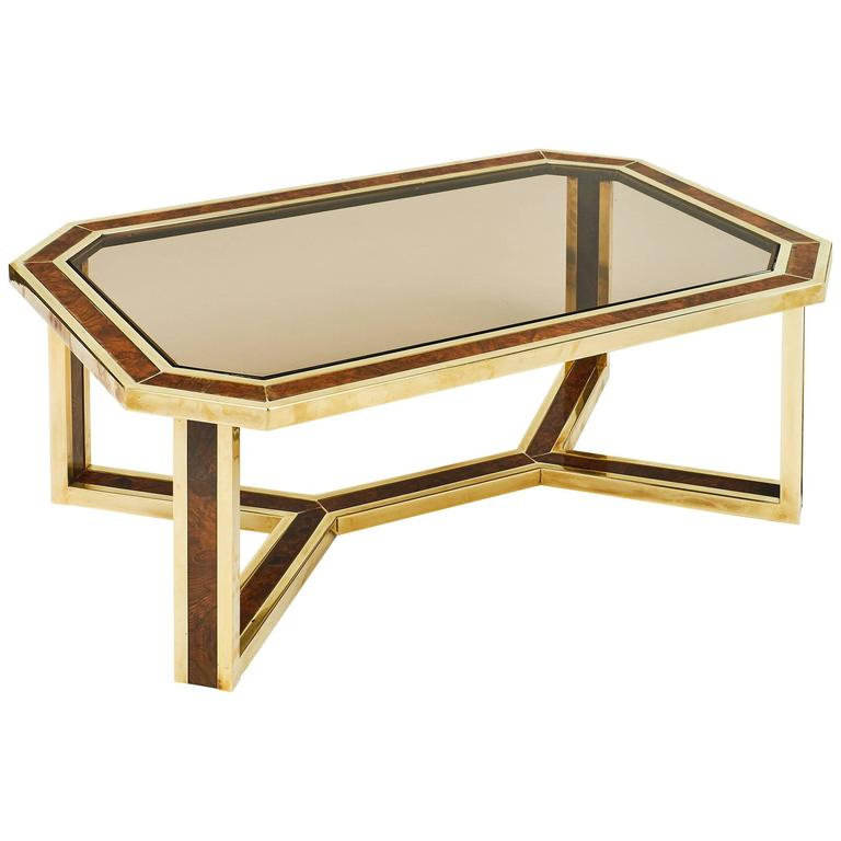 Maison Jansen Mid-Century Modern French Brass and Burled Ash Coffee Table