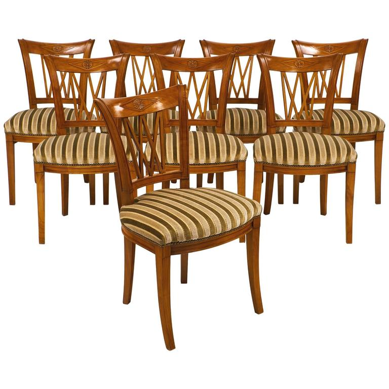 Set of Eight Directoire Style Antique French Dining Chairs