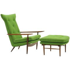 Rare George Nakashima for Widdicomb High Back Lounge Chair and Ottoman