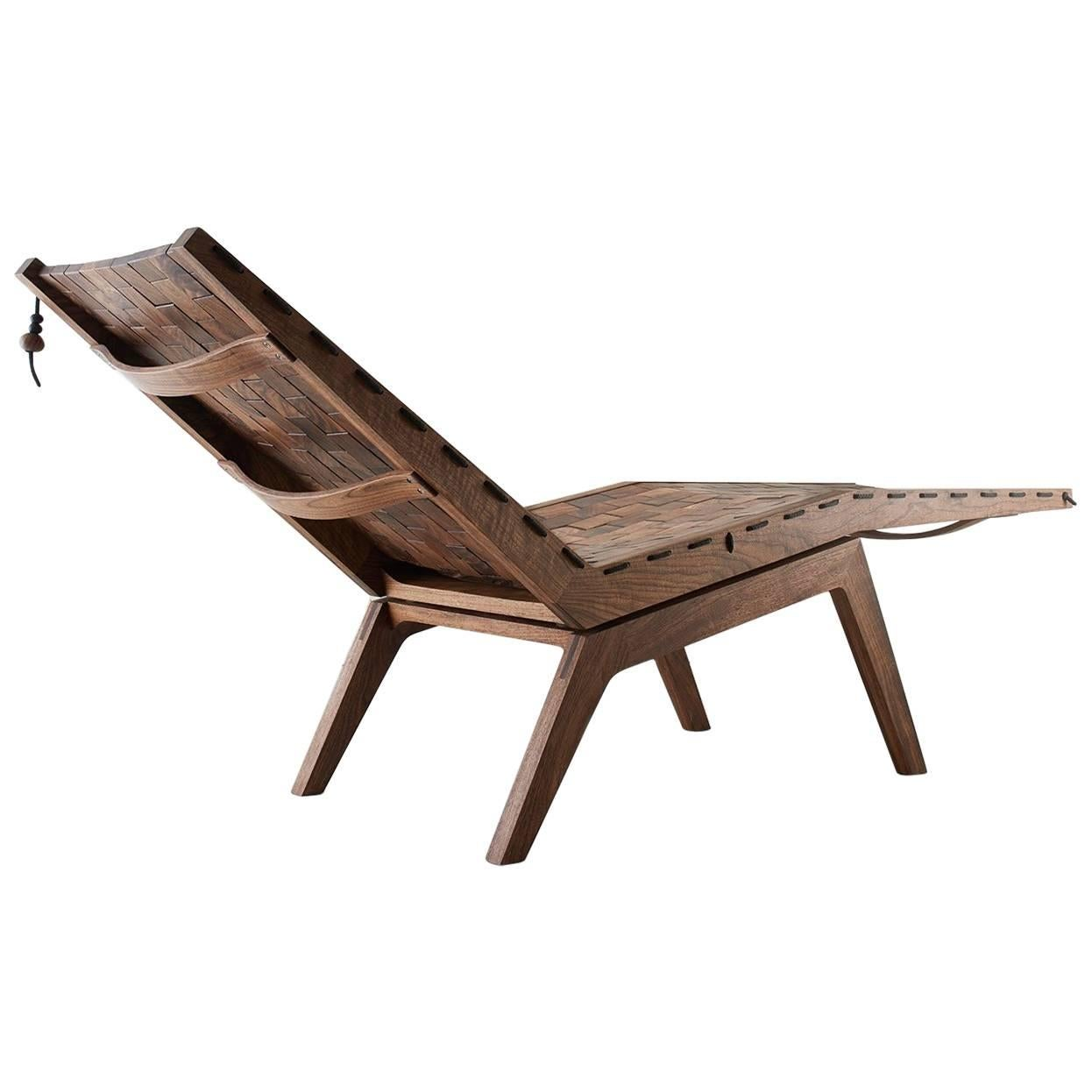 Handcrafted Modern Walnut RB Chaise Lounge