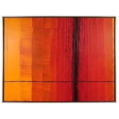 Striking Mid-Century Oil on Canvas in Reds, Oranges and Black