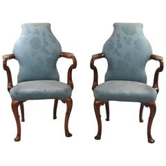 Pair of English George II Style Walnut Upholstered Armchairs